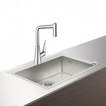 Set Hansgrohe Select Sink Combi C71-F660-03, chiuveta inox 760mm + baterie cu pipa rotativa si dus extractibil, crom