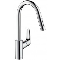 Baterie bucatarie Hansgrohe Focus 240, dus extractibil, crom
