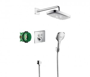 Sistem de dus incastrat termostatat Hansgrohe Design Raindance Select E Shower Select S cu 2 consumatori